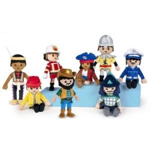 Playmobil - Peluche 28 cm - Personnage aux choix (Samouraï, Cowboy, Indien, Bricoleur)