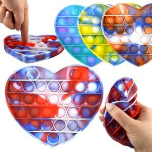 Jeu Pop it Bubble - Coeur - Environ 14 cm - Magic Pop Push - Bulle Anti stress - Jouet Fidget Toy - Tik Tok Toy